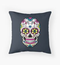 Purple Sugar Skull Throw Pillow