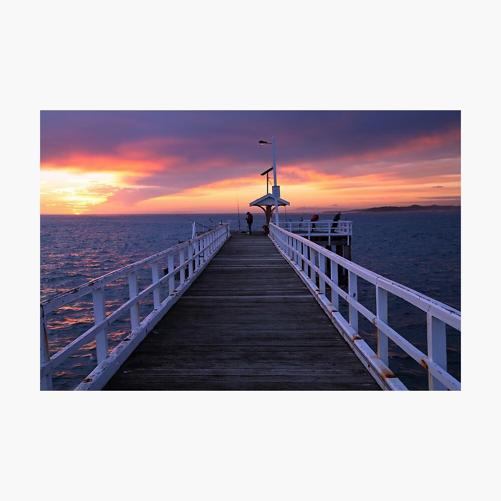 Fishermen on Point Lonsdale Pier, Victoria, Australia Photographic Print