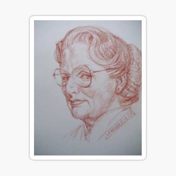 sketch of  Mrs Doubtfire Sticker