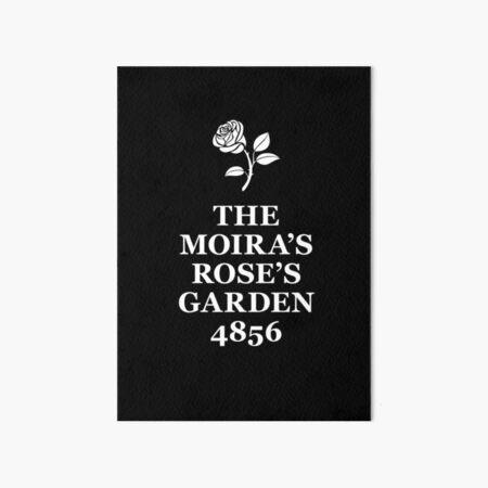 The Moira's Rose's Garden - white type Art Board Print