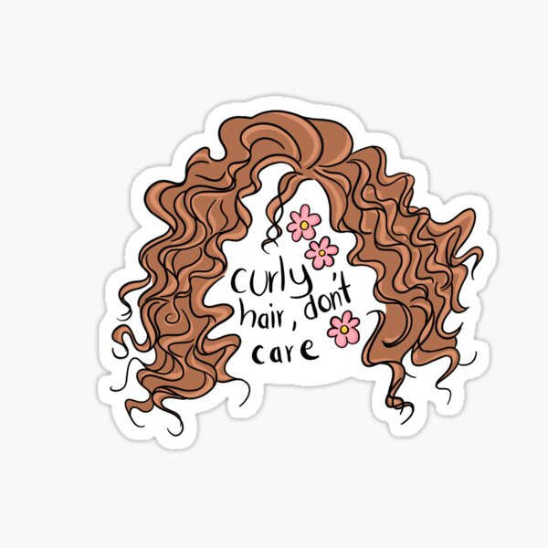 Curly Hair, Don't Care Sticker