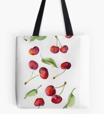 Watercolor  cherry. Raster illustration. Tote Bag