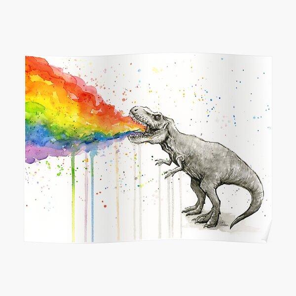 T-Rex Puking Rainbow Taste the Rainbow Poster