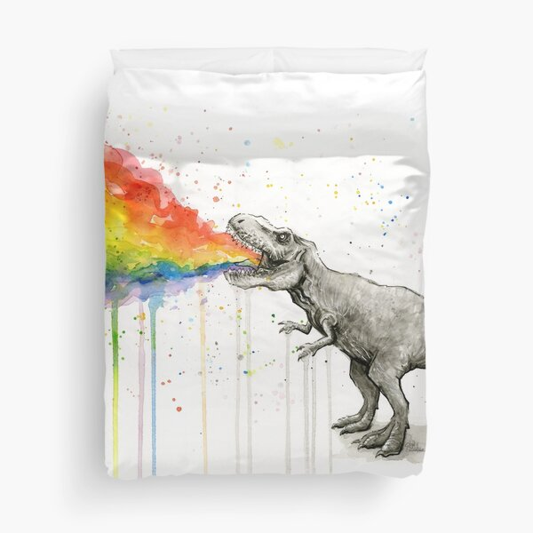 T-Rex Puking Rainbow Taste the Rainbow Duvet Cover