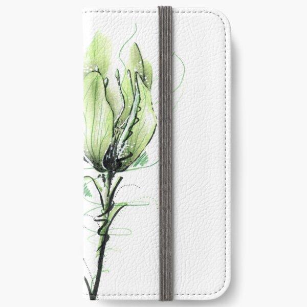 Grüne Blume iPhone Flip-Case