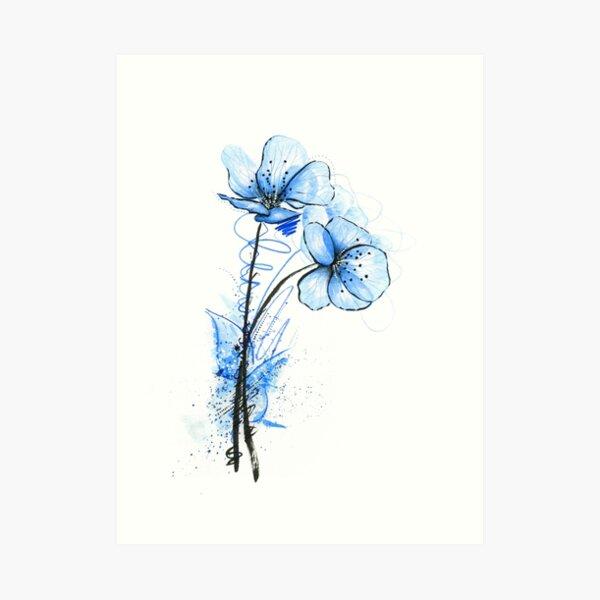 Blaue Blume Kunstdruck