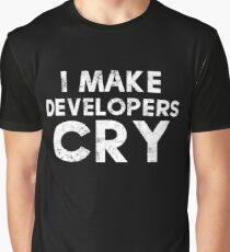 I Make Developers Cry Distressed T-shirt and Sticker for QA Engineers Graphic T-Shirt