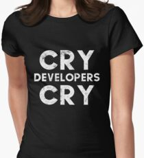 Funny Cry Developers Cry Distressed T-shirt and Sticker for QA Engineers Women's Fitted T-Shirt