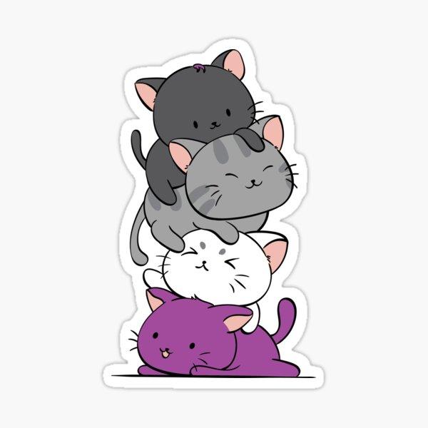 Kawaii Catpile - Orgullo Asexual Pegatina