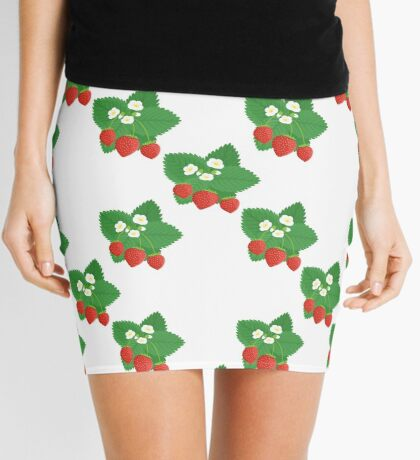 Seamless Pattern of Strawberries with Leaves and Flowers Mini Skirt