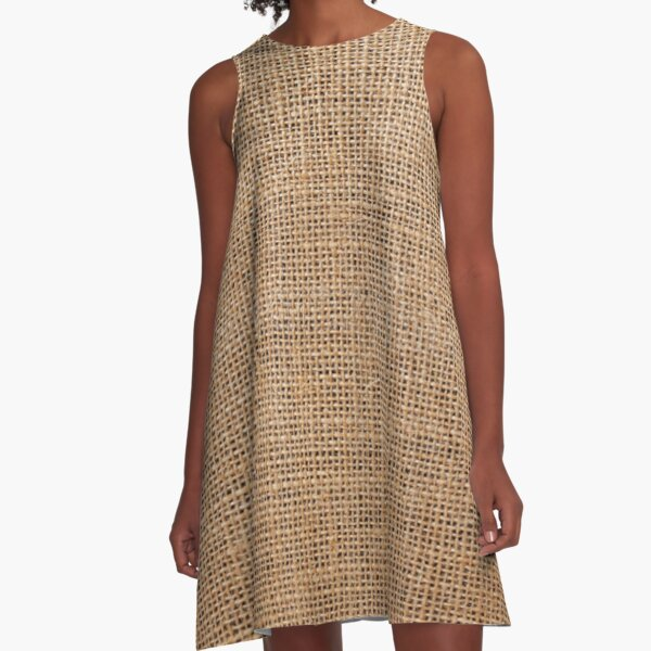 #Wicker, #roughlinen, #burlap, #sackcloth, sacking, bagging, холст, scrim, cloth, crash, власяница, hairshirt, haircloth, мешковина A-Line Dress