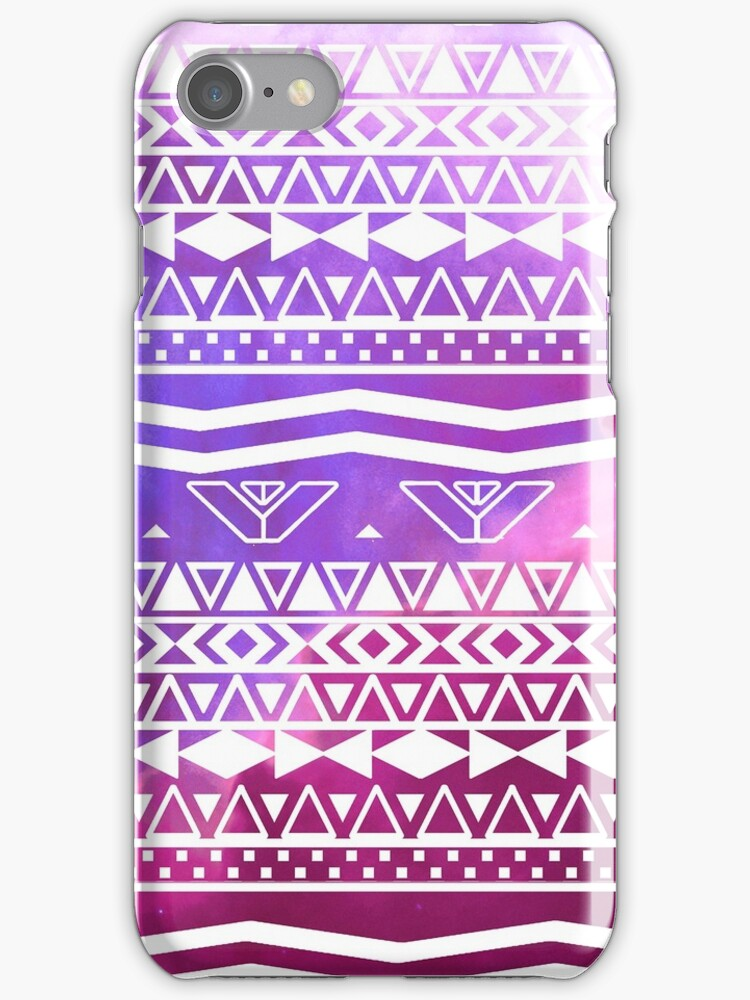 Trendy White Aztec Pattern Purple Nebula Space by GirlyTrend