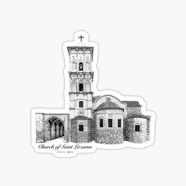Church of St. Lazarus - Larnaca, Cyprus by Amanda M Lucas Sticker