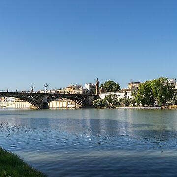 Glossy Shadows - Seville Guadalquivir River and Triana Bridge by GeorgiaM