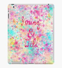Girly neon Pink Teal Abstract Splatter Typography iPad Case/Skin