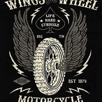 Wings & Wheel Vintage Motorcycle by GarnetLeslie