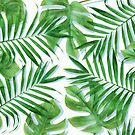 Green tropical leaves V by CatyArte