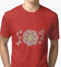 70 Organic Circle Seeds Off Like Dandal Lion at Green Bee Mee Tri-blend T-Shirt