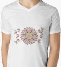 70 Organic Circle Seeds Off Like Dandal Lion at Green Bee Mee Men's V-Neck T-Shirt