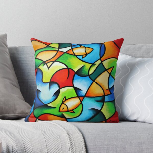 "Kissen / Serie ""Colorful Ocean"" - Goldfische von Ekaterina Moré / Ekaterina More Dekokissen"