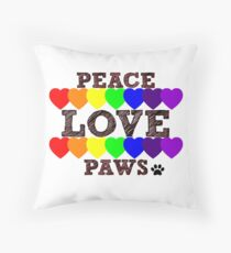 Peace, Love & Paws Rainbow Hearts Dog Slogan Gifts for Dog Lovers Throw Pillow