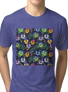 Pansy violet pattern Tri-blend T-Shirt