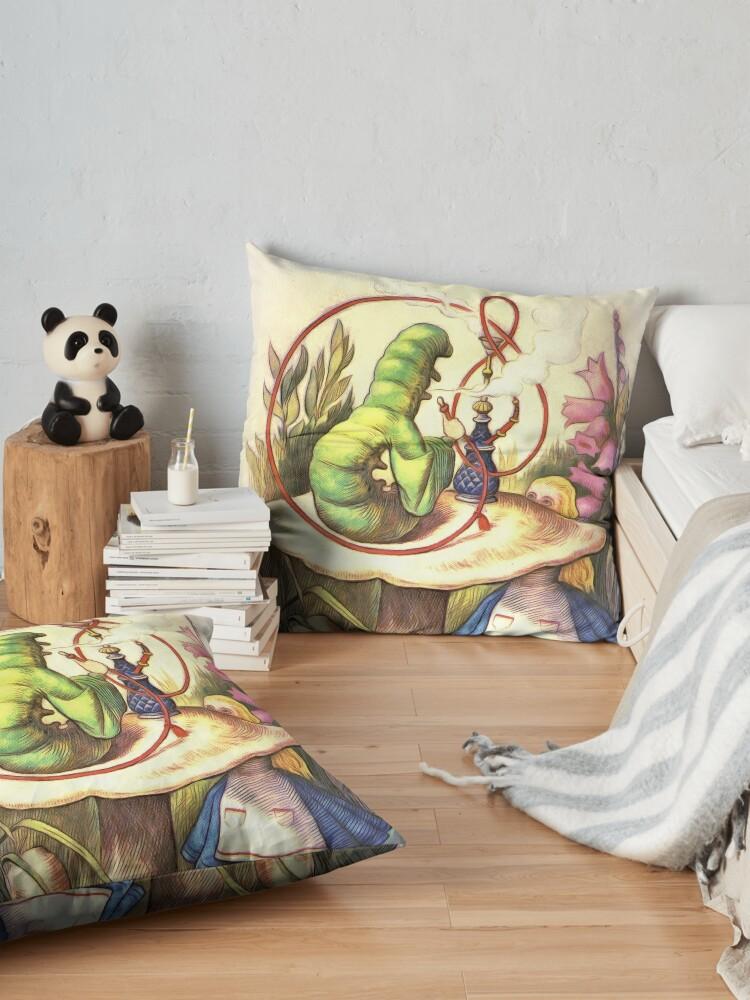 Alternate view of Alice & The Hookah Smoking Caterpillar - Alice In Wonderland Floor Pillow