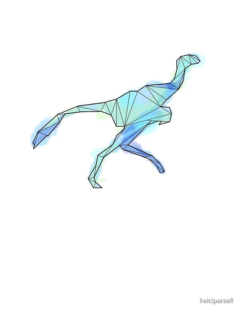 Geometric Blue Deinonychus Dinosaur by kelciparsell