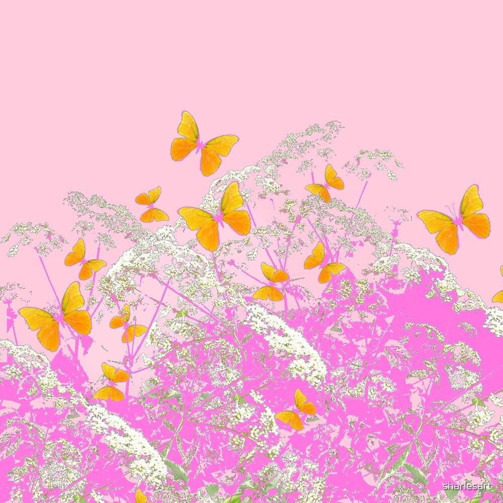 BUTTERFLIES IN PINK LACE GARDEN by sharlesart