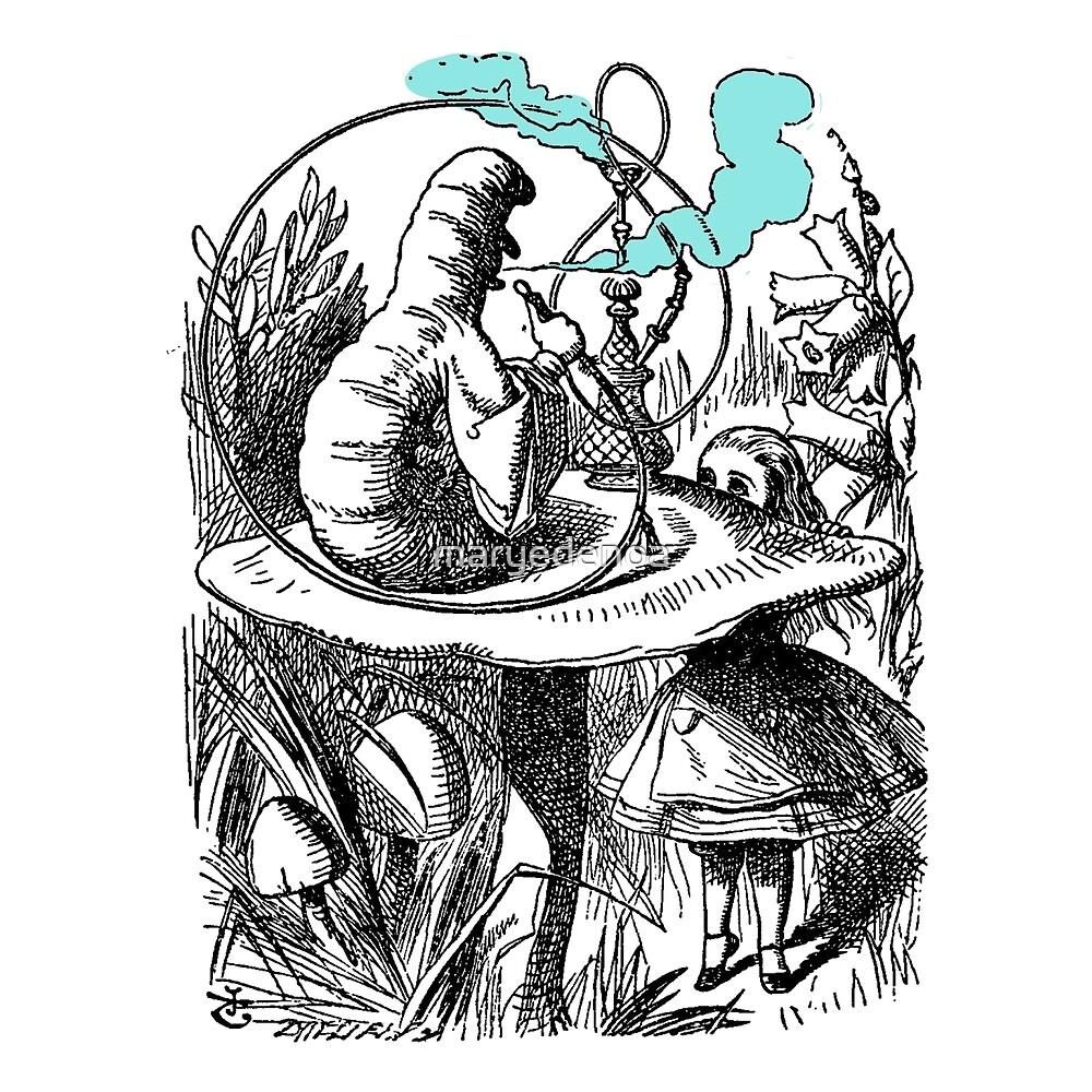 Alice & The Hookah Smoking Caterpillar - Alice In Wonderland by maryedenoa