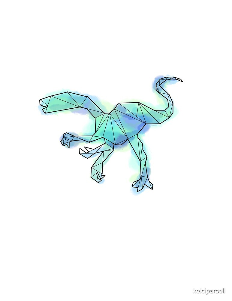 Geometric Blue Saltopus Dinosaur by kelciparsell