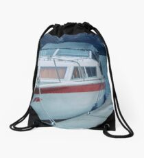 Our boat parked for night Urquhart Bay Loch Ness Scotland 19840909 0011  Drawstring Bag