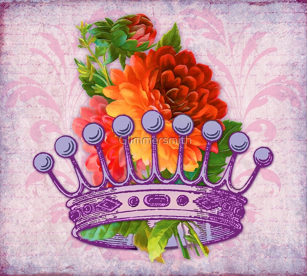 Her Majesty, Crown, Flowers, vintage handwriting by Glimmersmith