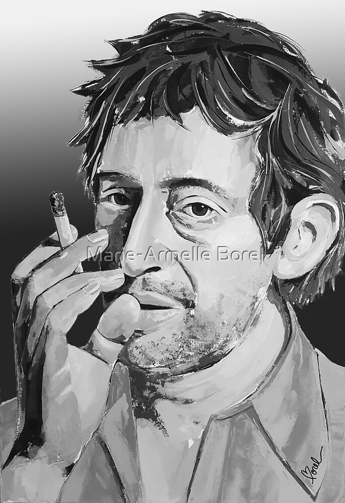 Serge Gainsbourg Black and White by Marie-Armelle Borel