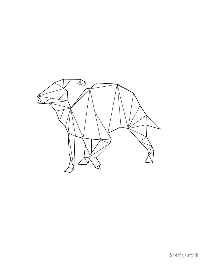Geometric Parasaurolophus Dinosaur by kelciparsell