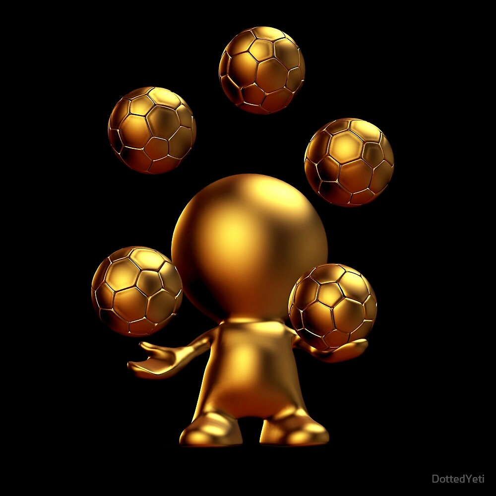 cute golden 3d man juggling five soccer balls by DottedYeti