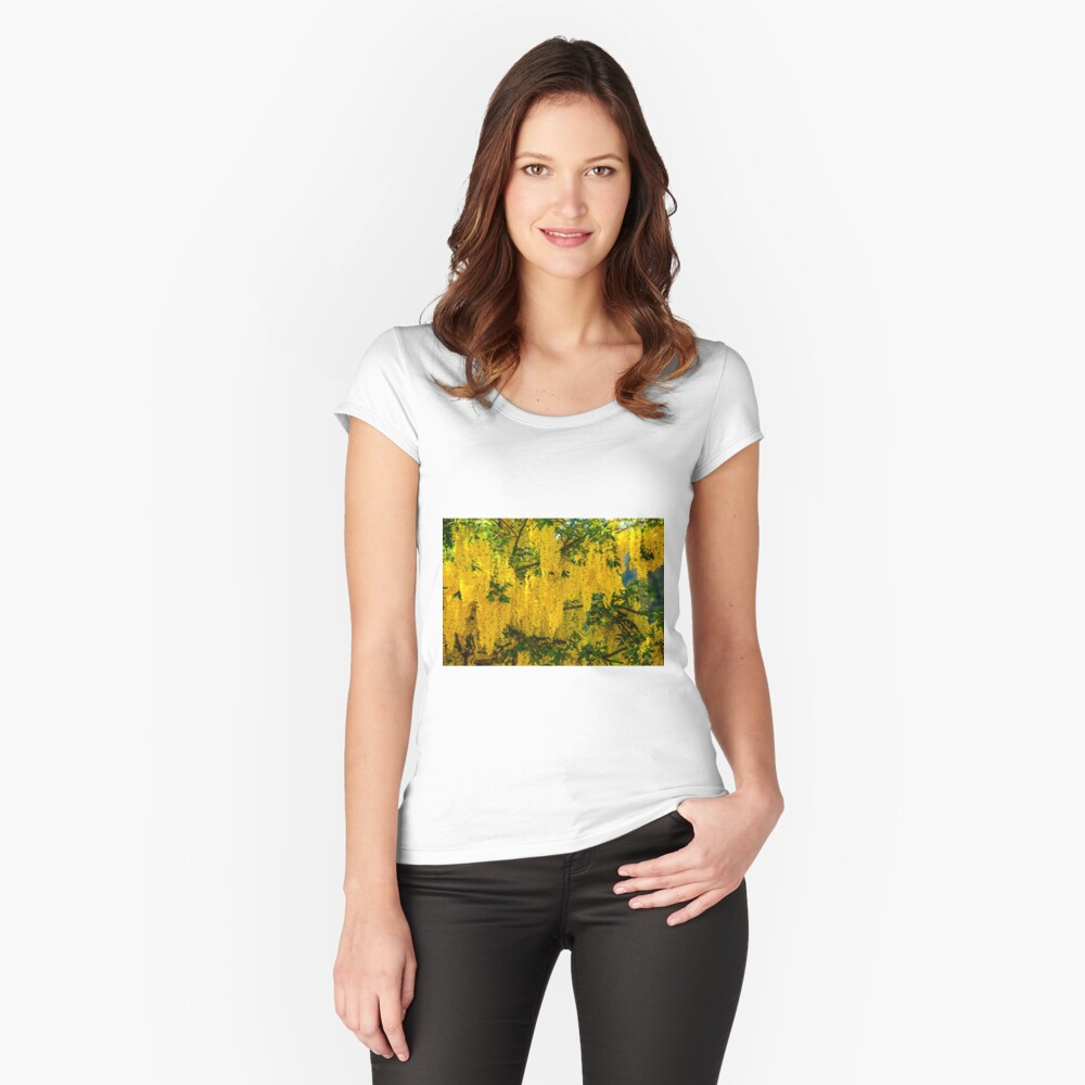 Dangling Yellow Blossoms Women's Fitted Scoop T-Shirt Front