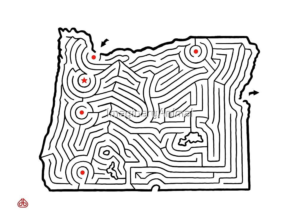 OREGON Map Maze | Hand Designed | Portland / Mt. Hood / Salem / Eugene / Medford by ImaginaryAnimal