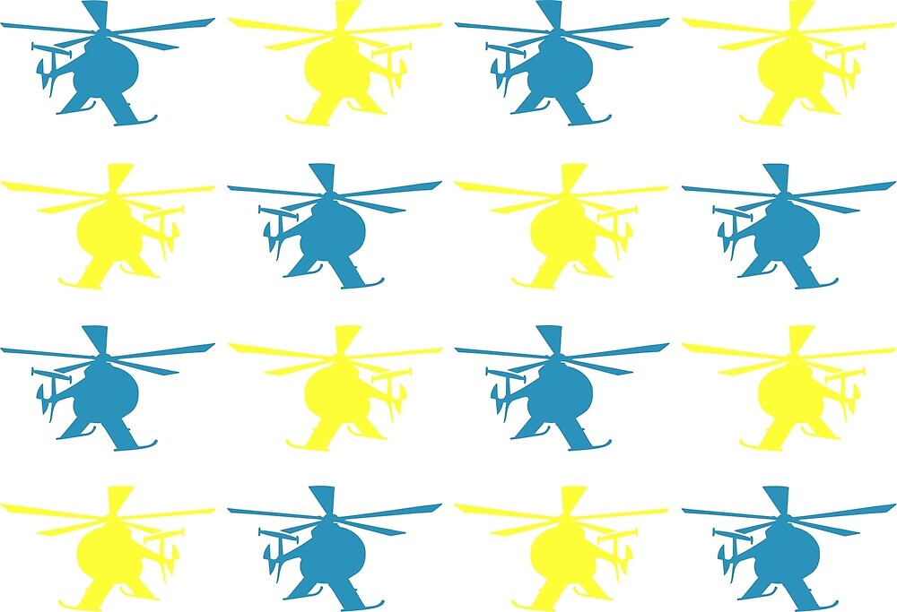 Helicopter Silhouettes Pattern in Bright Blue and Yellow by sunnydaysdesign