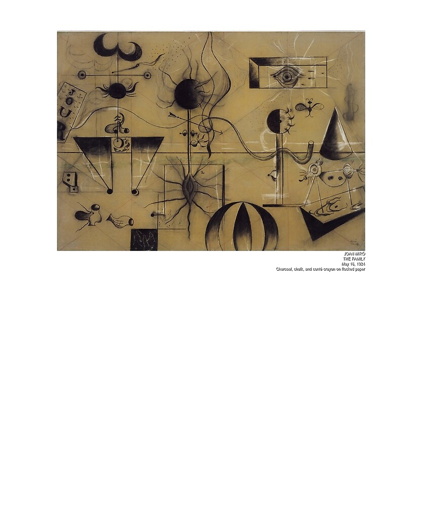 Joan Miro The Family 1924 Artwork T Shirt, Art Reproduction by Art-O-Rama ®