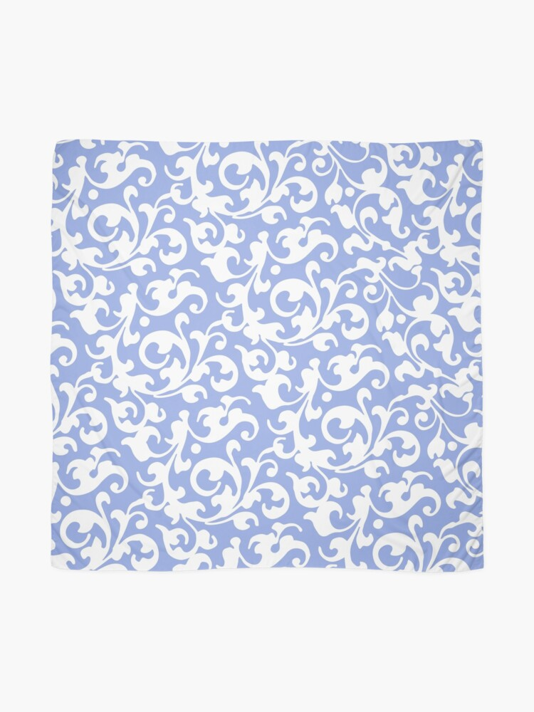 Alternate view of Pretty Blue and White Damask Scarf