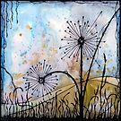 Dandelions ink watercolour on paper artwork by Nikolai Bird