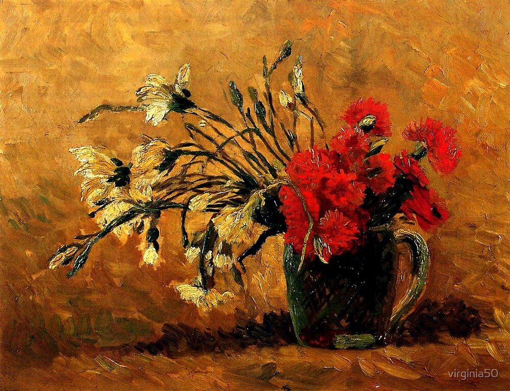 Van Gogh - Vase with Red and White Carnations by virginia50