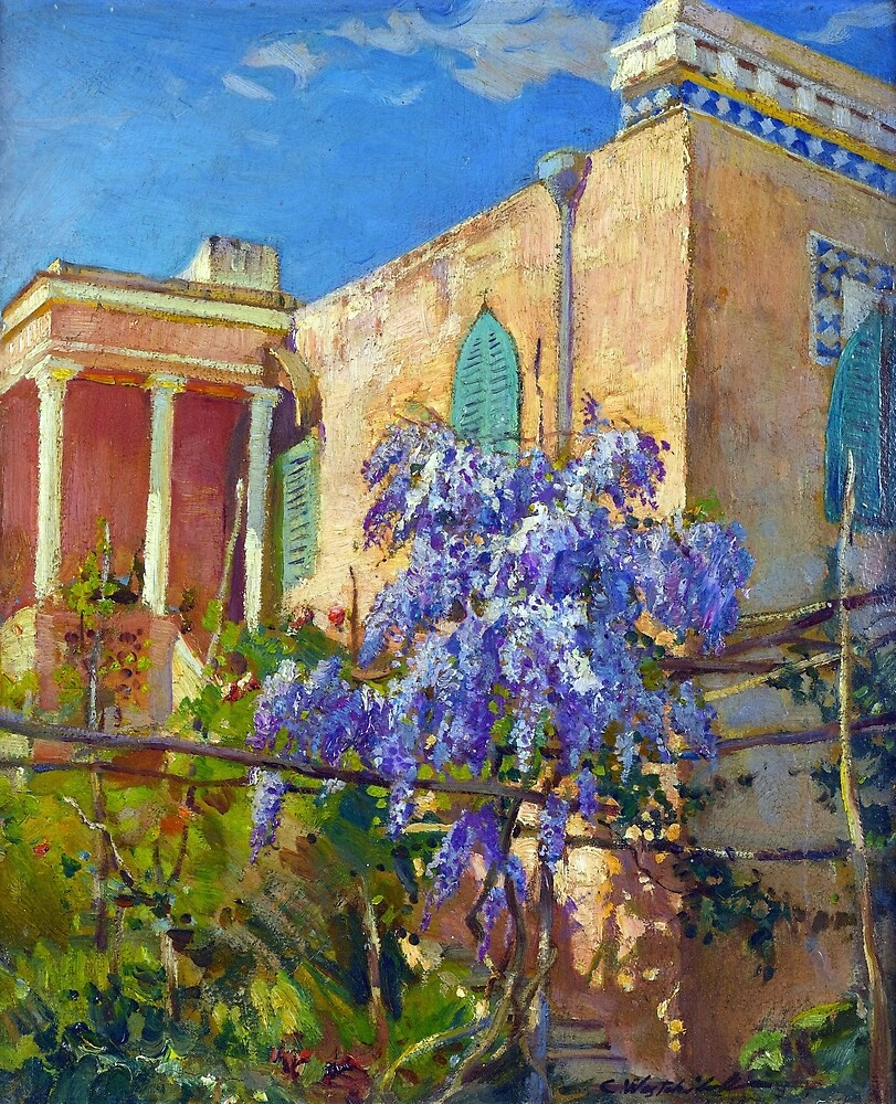 Constantin Alexandrovitch Westchiloff A House with Flowering Trees along the Amalfi Coast of Italy by pdgraphics