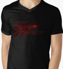 Red Moon with Text Men's V-Neck T-Shirt