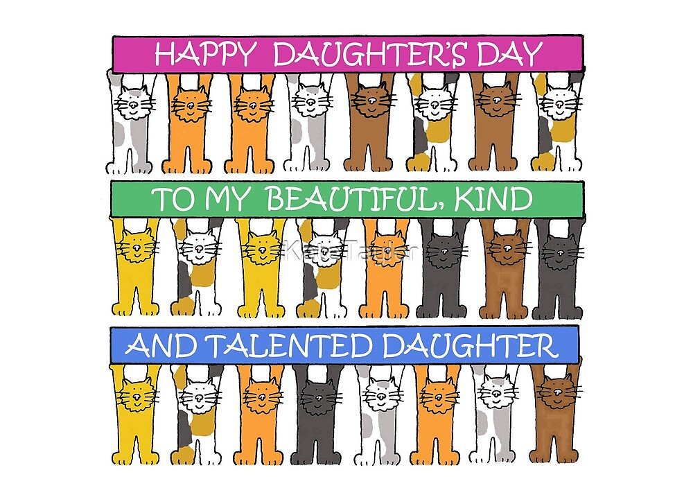 Happy Daughter's Day cute cartoon kittens. by KateTaylor