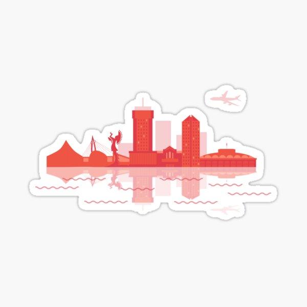 Downtown Wichita in Coral Sticker