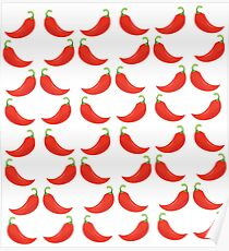 Red Hot Pepper Pattern Poster