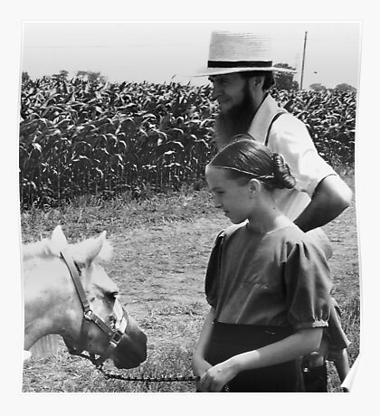 Amish Girl and Father at Auction Poster
