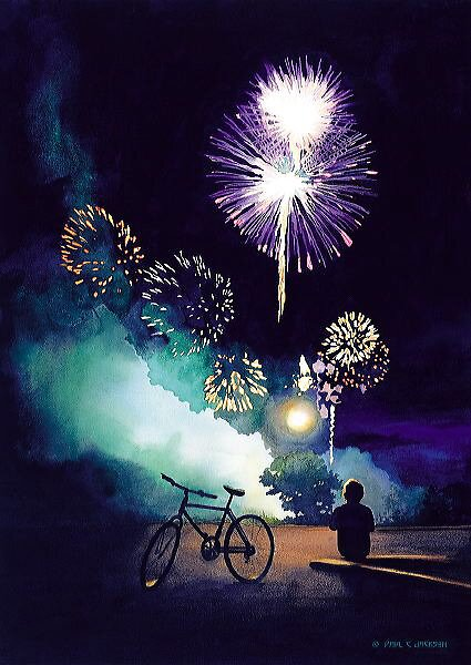 Quot Quot Fire In The Sky Quot Fireworks Watercolor Quot By Paul Jackson